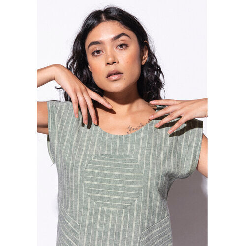 Railroad Circle Blouse - Sage Green Stripe - Hemp + Organic Cotton