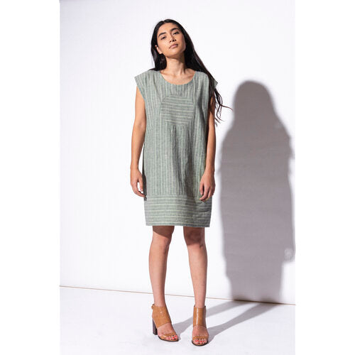 Railroad Circle Dress - Hemp + Organic Cotton - Sage Green Stripe