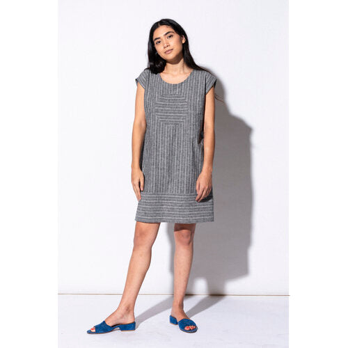 Railroad Circle Dress with Pockets -- Grey Stripe -- Hemp and Organic Cotton