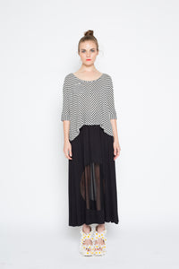 Porthole Maxi Skirt - Black