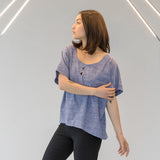 Triangle Cut Out Blouse - Blue Chambray