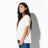 Triangle Cut Out Blouse - Cream - Hemp + Organic Cotton