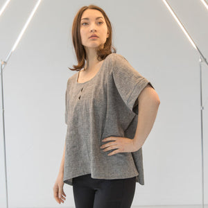 Triangle Cut Out Blouse - Grey Hemp and Organic Cotton
