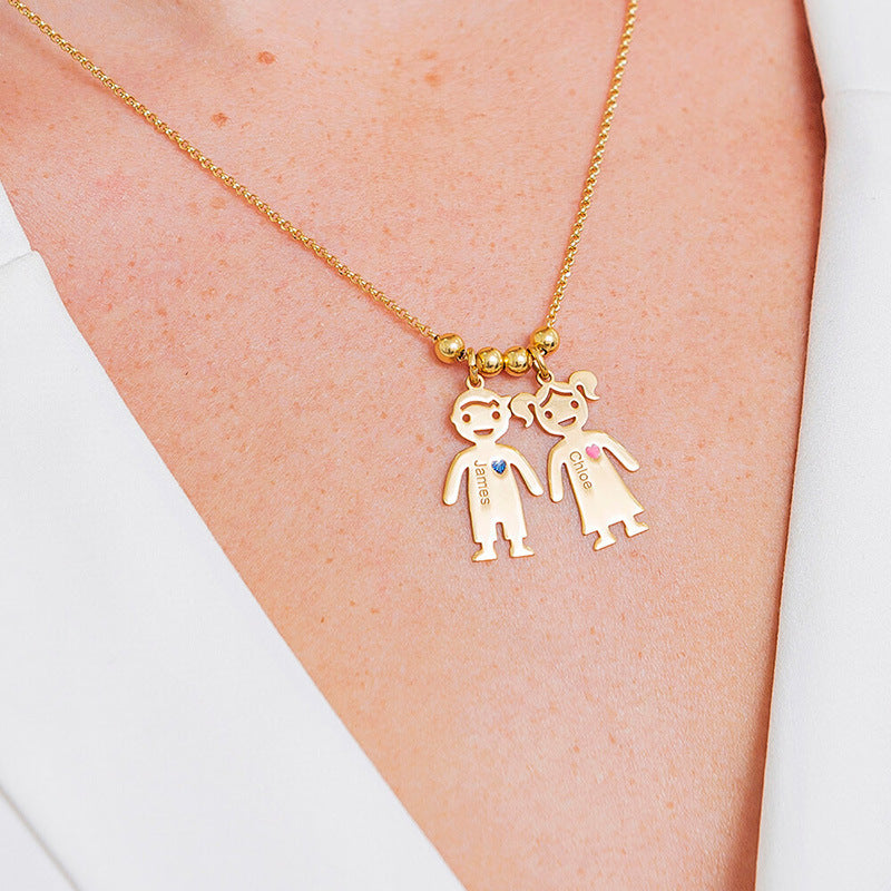 Necklace With Engraved Children Charms - wow factor store