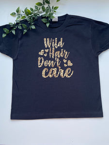 Wild hair don't care kids tee