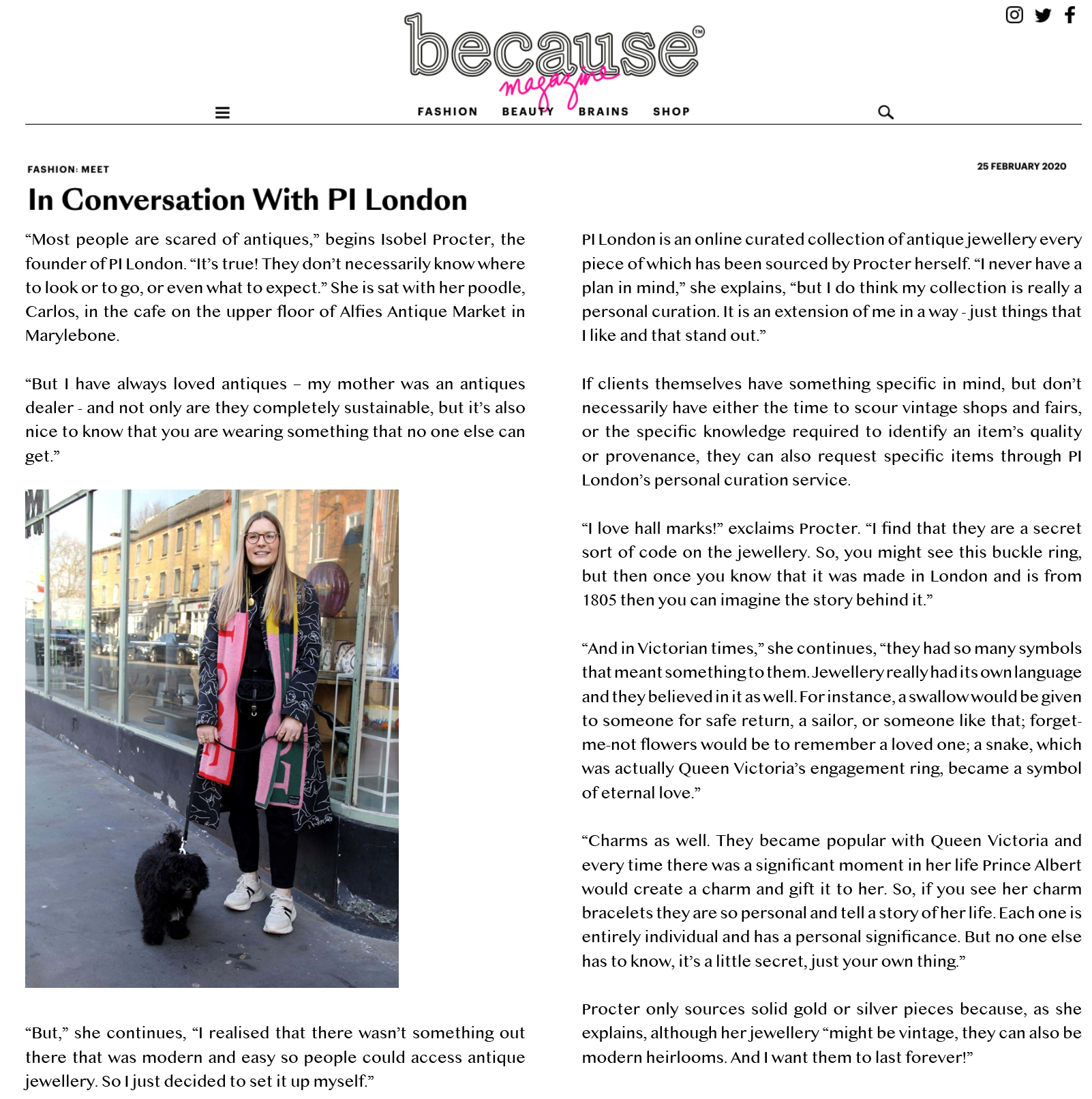 pi london in because magazine