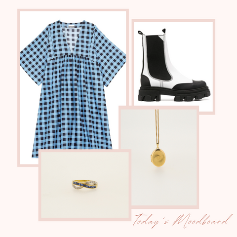 ganni gingham blue dress with ganni white leather chunky boots and vintage tanzanite and diamond infinity love knot ring with a vintage seventies 9ct gold locket. vintage jewellery with inspired outfits