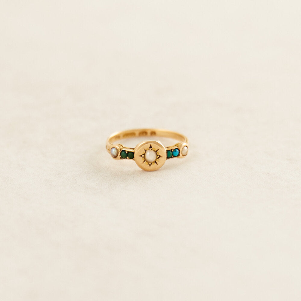 Art Deco turquoise and pearl ring, £670, PI London