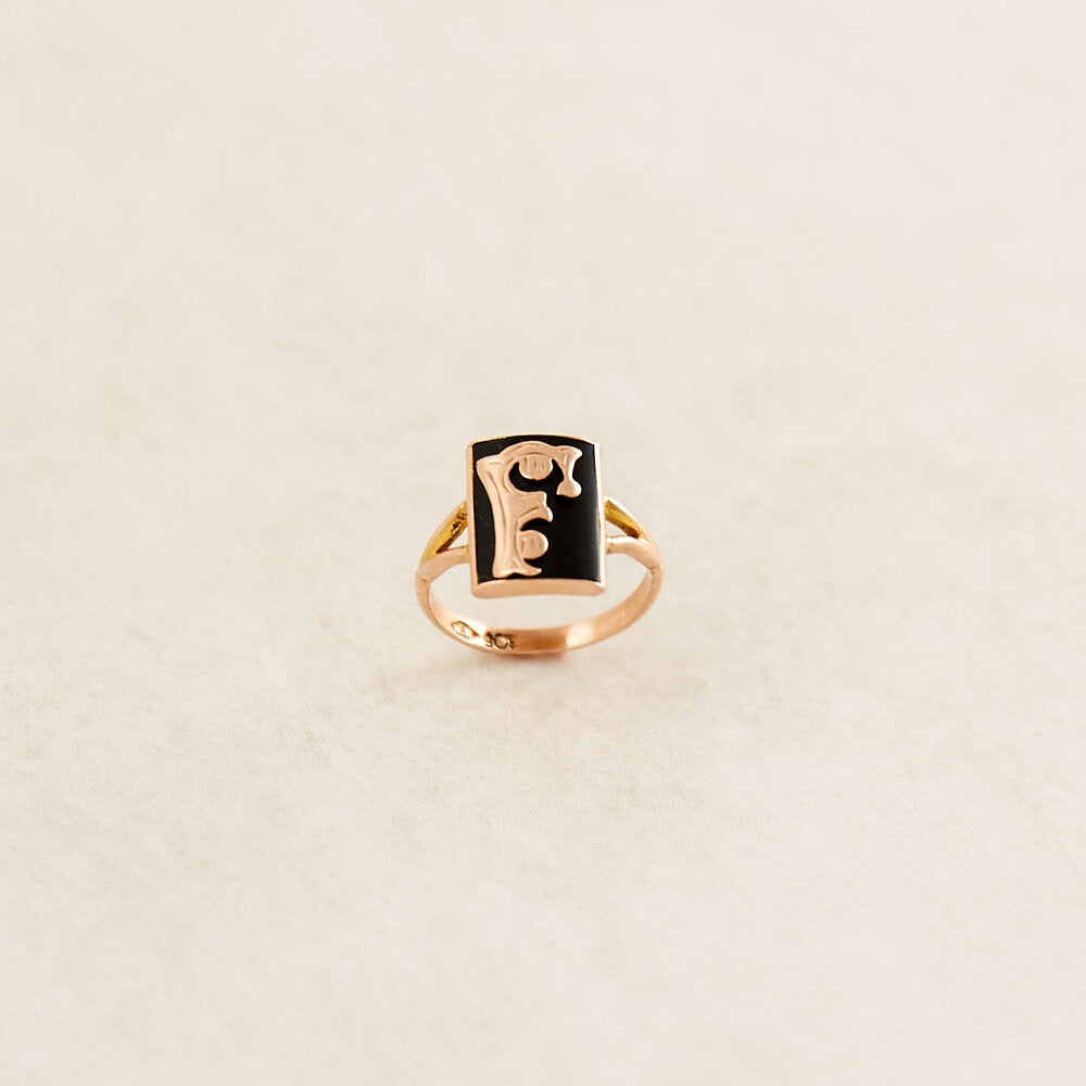 F Initial Black Onyx Rose Gold Ring