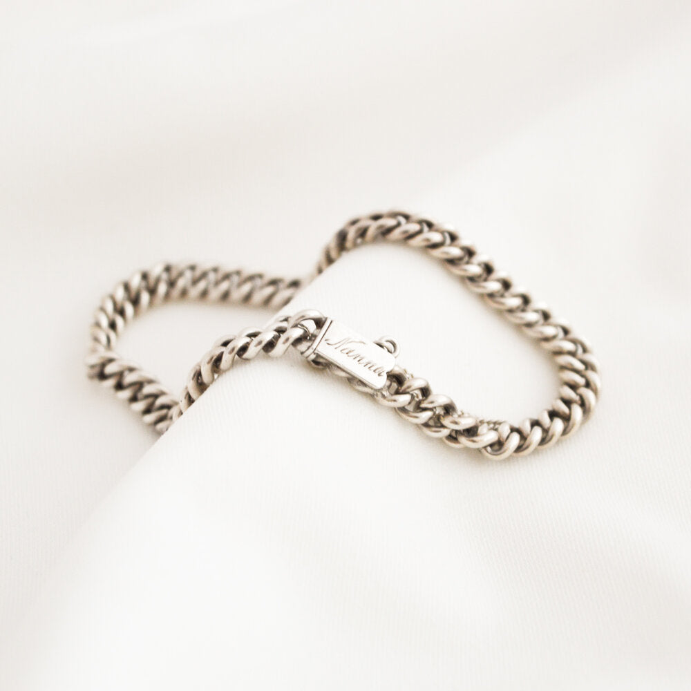 Inscribed Silver Curb Bracelet