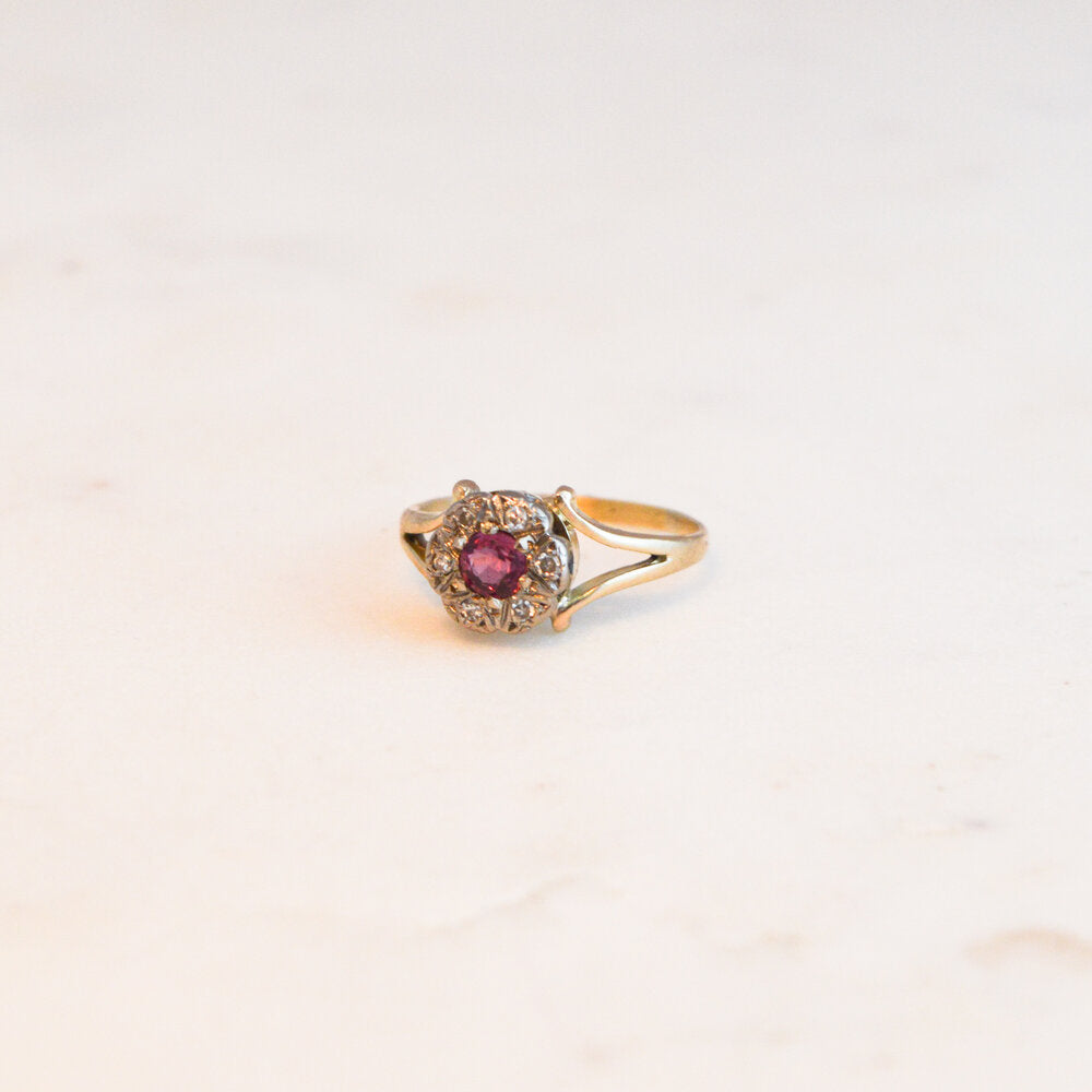 Ruby and Diamond Victorian Cluster Ring