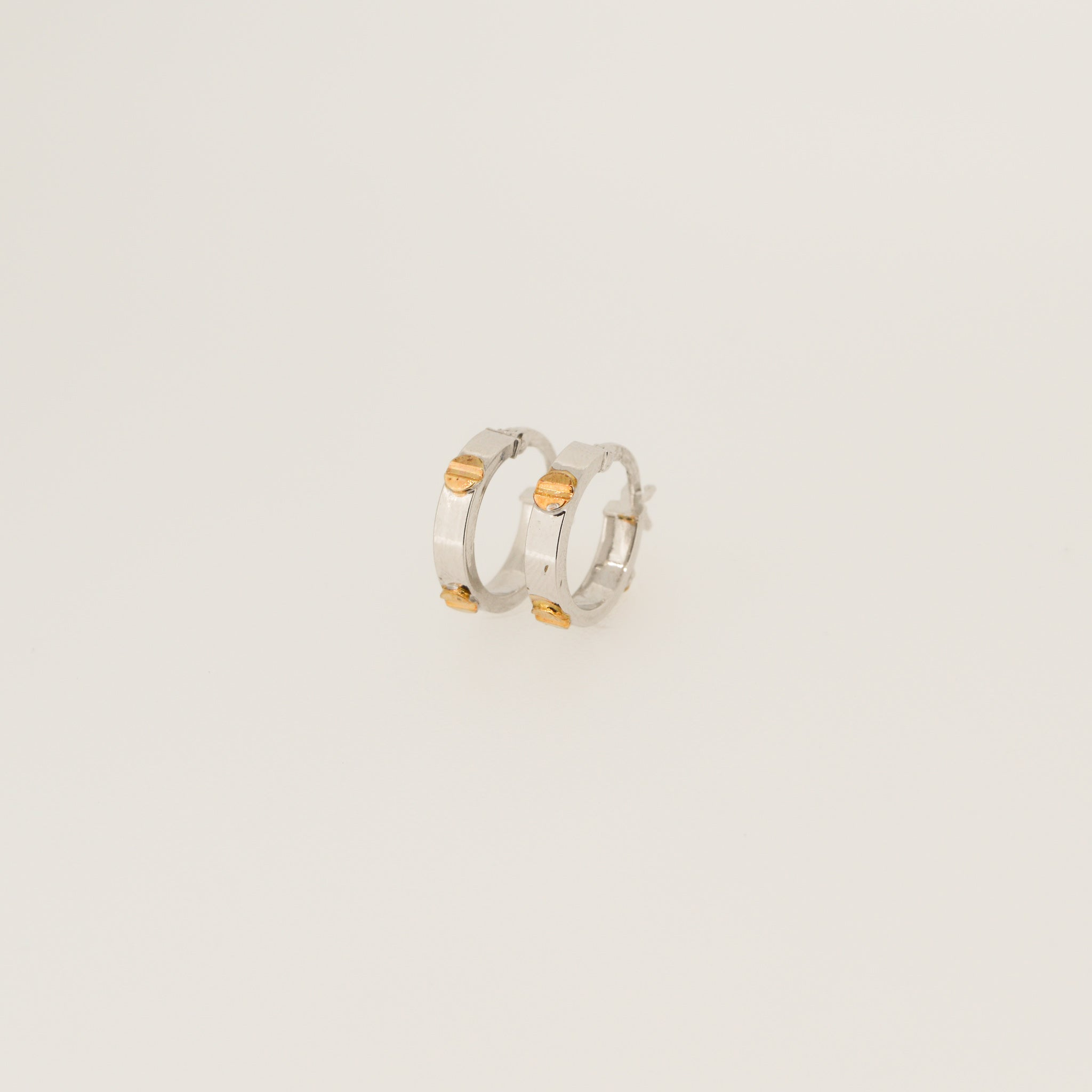White & Yellow Gold Screw Hoops - 14mm