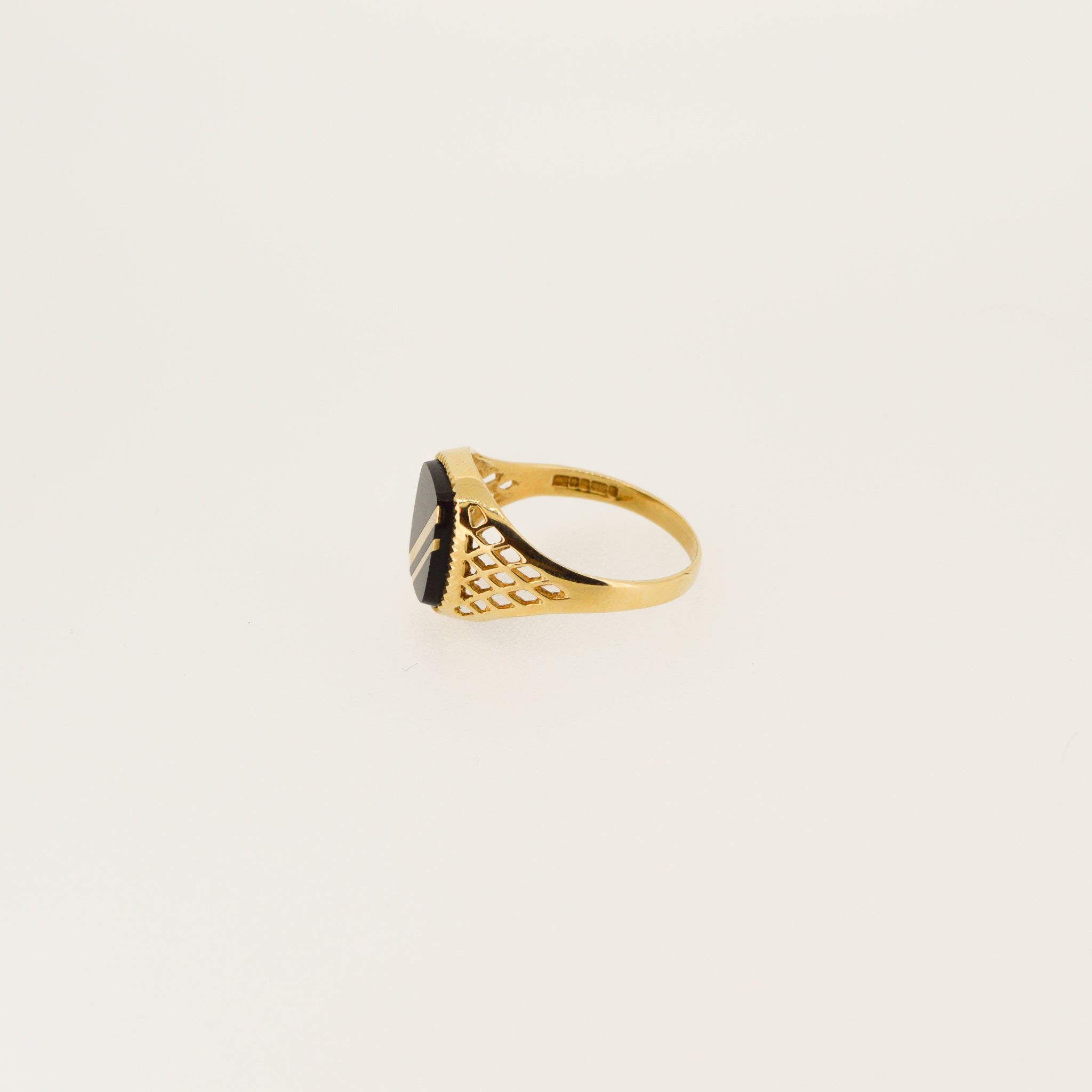 Black Onyx Gold Striped Ring