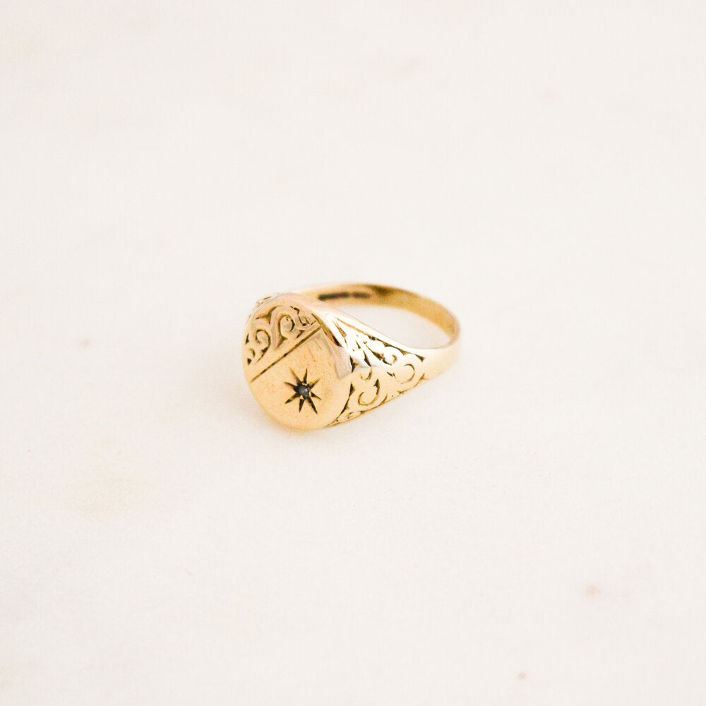 Detailed Diamond Signet Ring