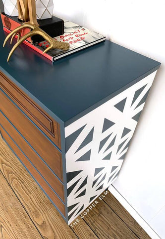 Geometric Painted Design On MCM Dresser