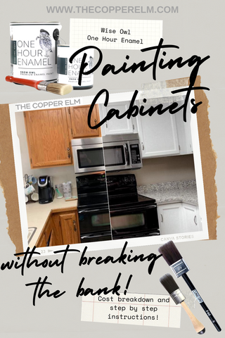 Painting kitchen cabinets with Wise Owl One Hour Enamel