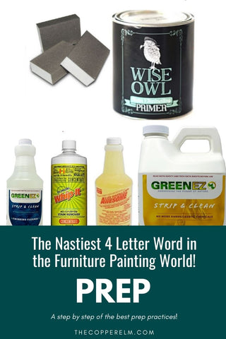 Prep work basics for the most success when painting furniture using primer, cleaners, strippers, and sanding.