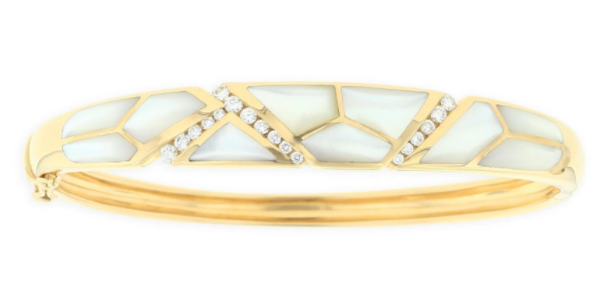 14 KT YELLOW GOLD BRACELET WITH INLAY AND DIAMONDS