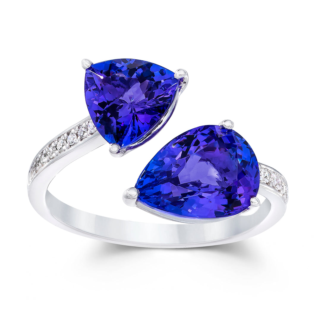 Pear & Trillion Shaped Tanzanite & Diamond Ring set in 14k White Gold