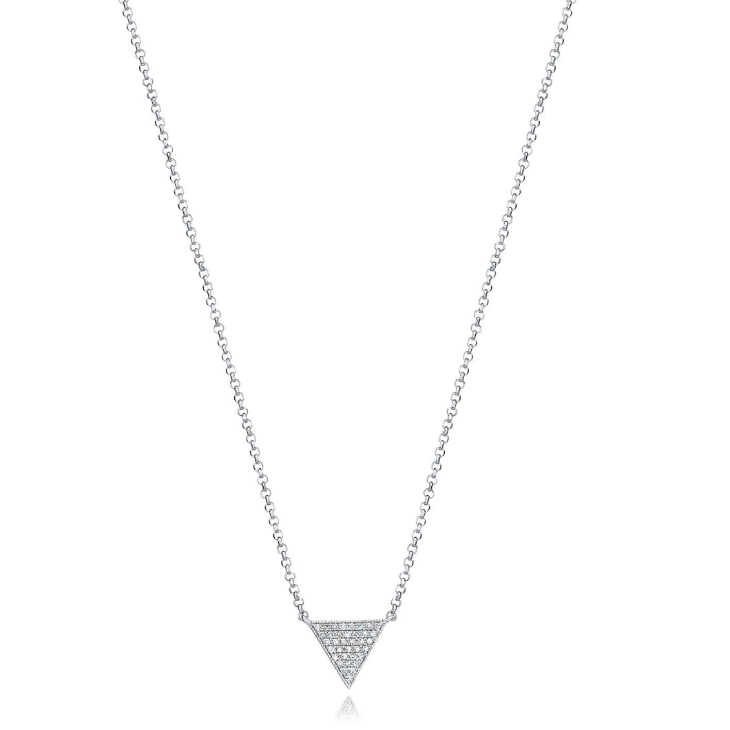 Triangle Diamond Necklace set in 14k White Gold