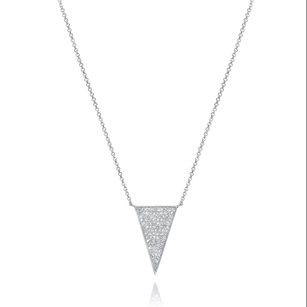 Large Triangle Diamond Necklace set in 14k White Gold