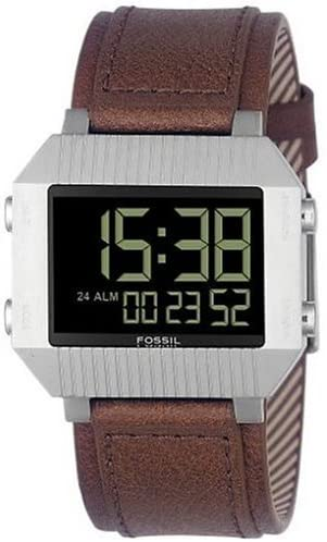 Fossil Men's Digital Watch with Leather Strap