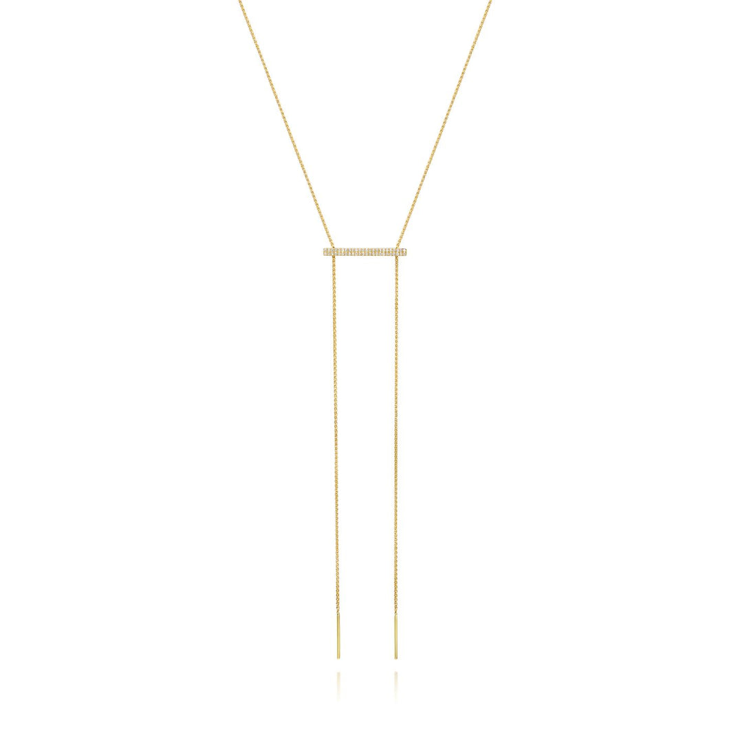 Adjustable Diamond Bar Lariat Necklace set in 14k Yellow Gold