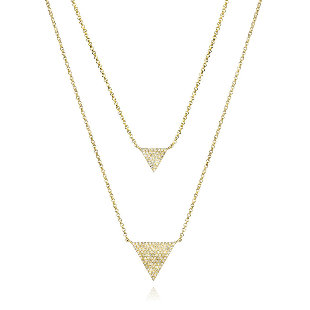 Double Triangle Diamond Necklace set in 14k Yellow Gold