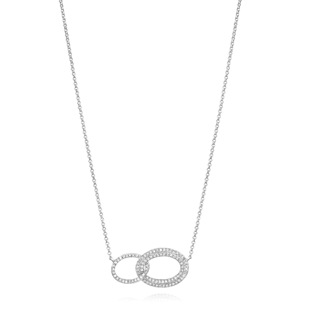 Linked Ovals Diamond Necklace set in 14k White Gold