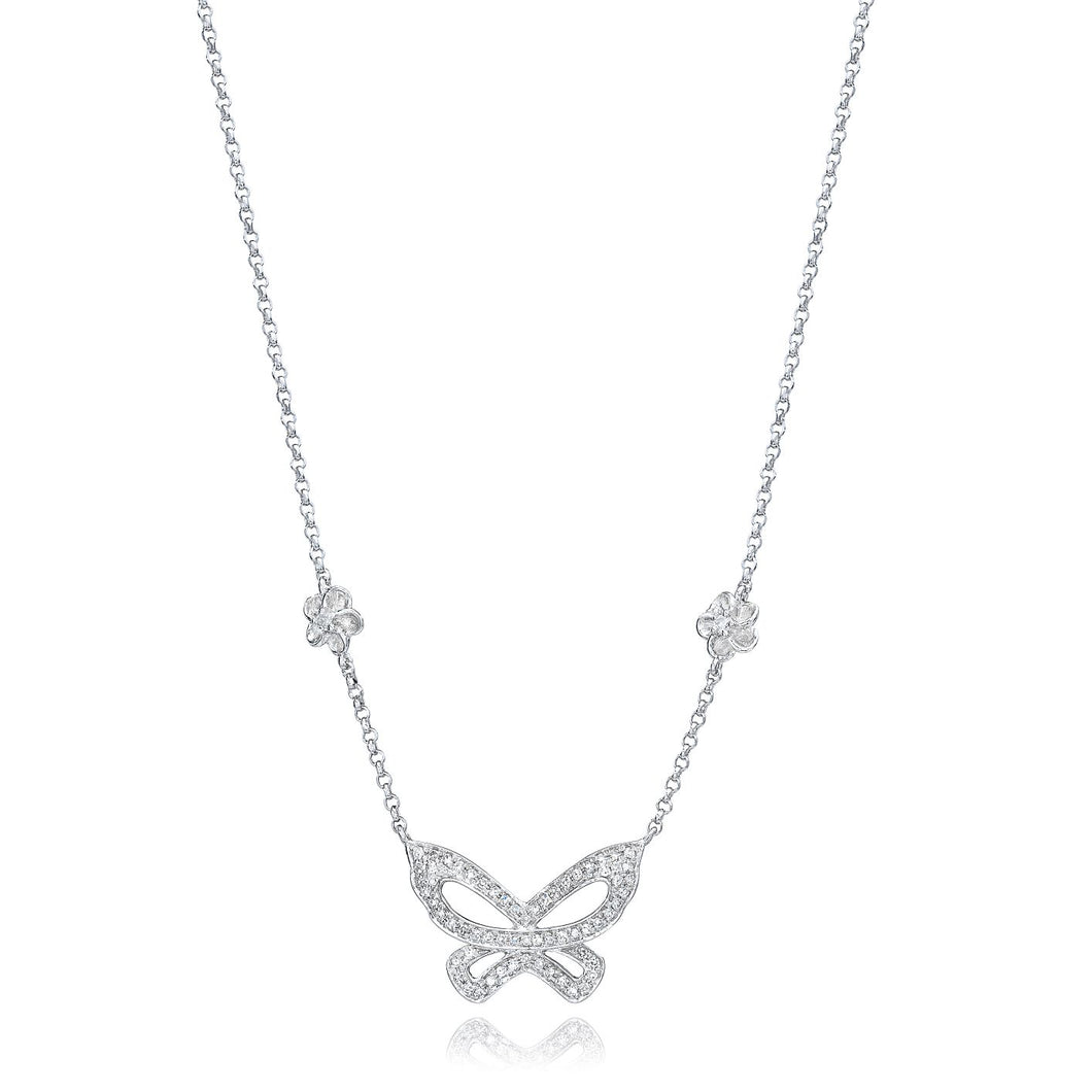 Butterfly Diamond Necklace set in 14k White Gold