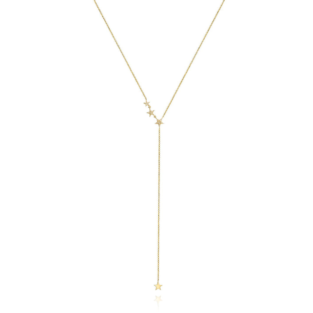 Star Lariet Diamond Necklace set in 14k Yellow Gold