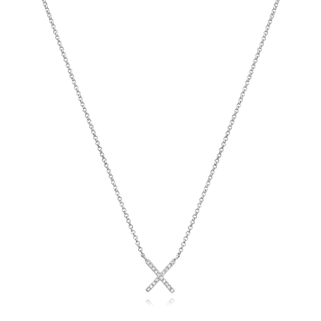 X Diamond Necklace set in 14k White Gold