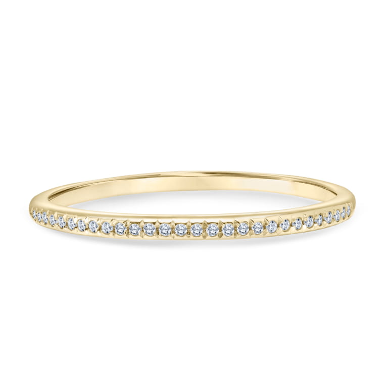 Slim Stackable Diamond Ring set in 14k Yellow Gold