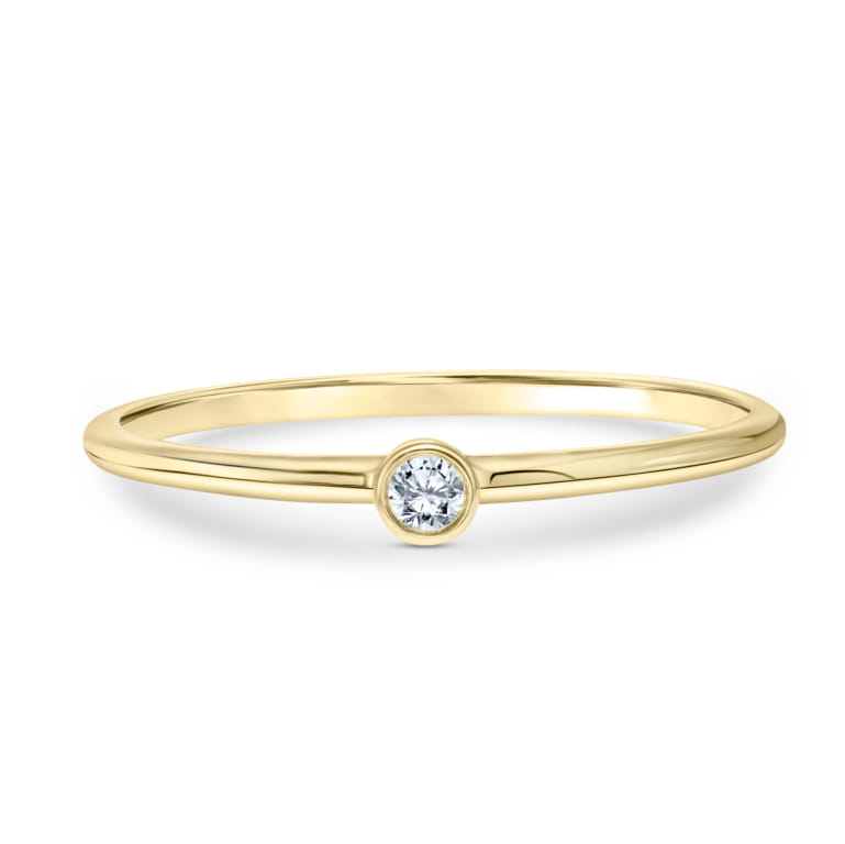 Stackable Solitaire Diamond Ring set in 14k Yellow Gold