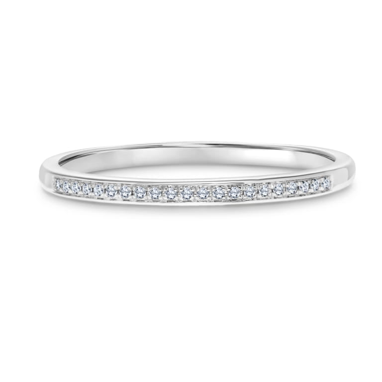Petit Pave Stackable Diamond Ring set in 14k White Gold