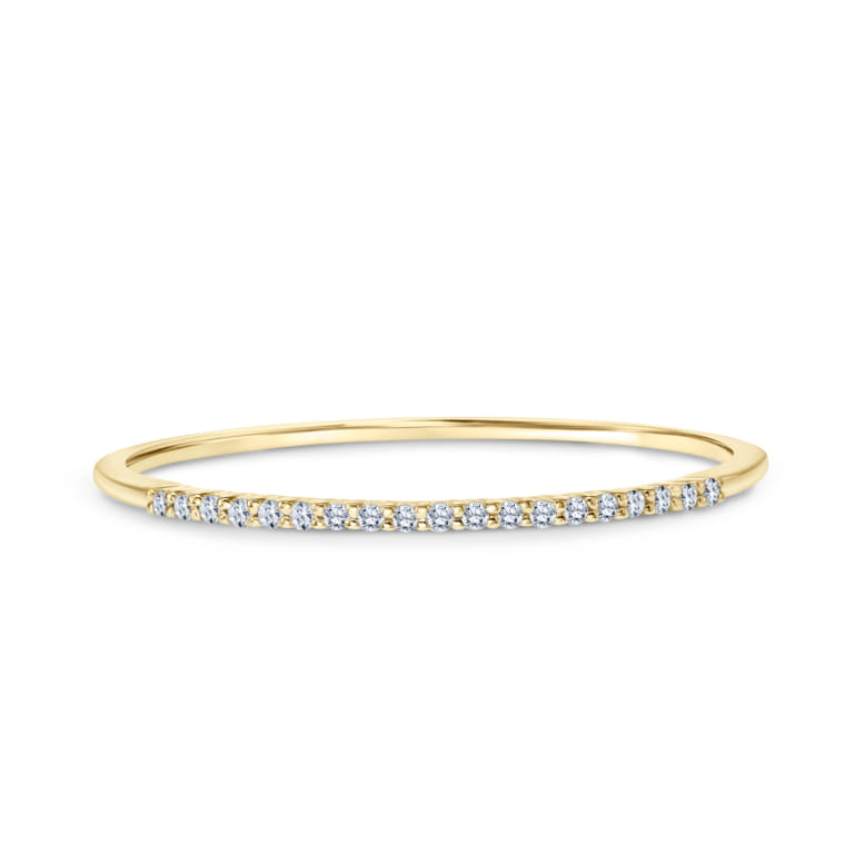 Stackable Diamond Ring set in 14k Yellow Gold