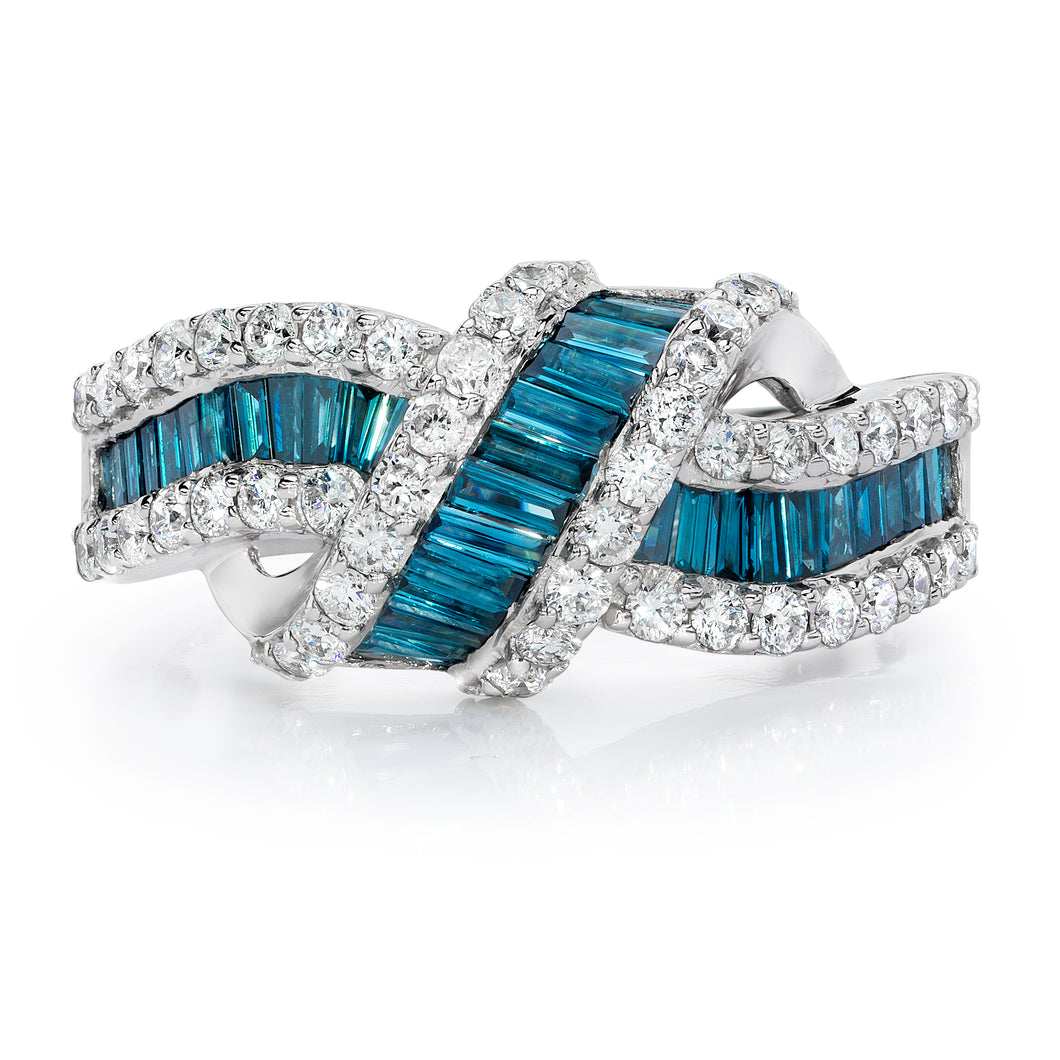 Blue and White Diamond Rings set 14k White Gold
