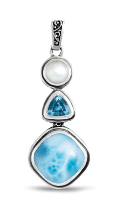 Azure Cushion Larimar Necklace