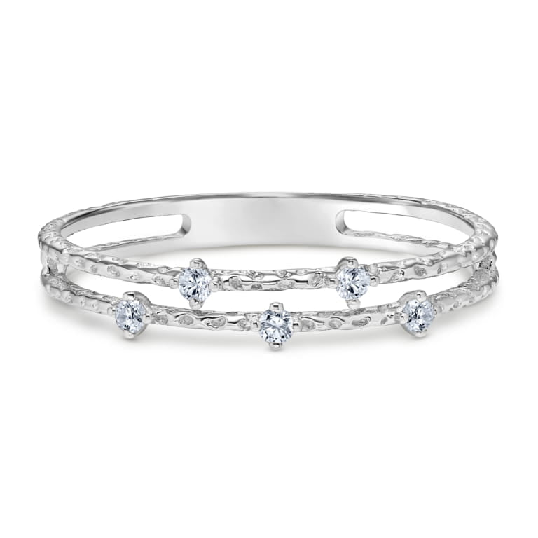 Textured Two Row Stackable Diamond Ring set in 14k White Gold