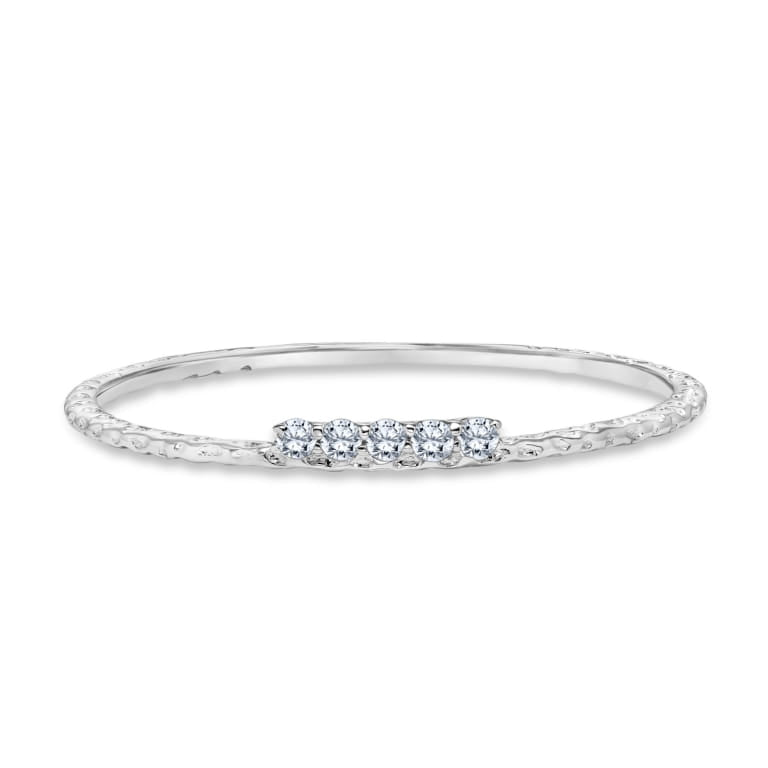 Textured One Row Stackable Diamond Ring set in 14k White Gold