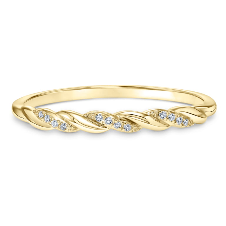 Twisted Stackable Diamond Ring set in 14k Yellow Gold