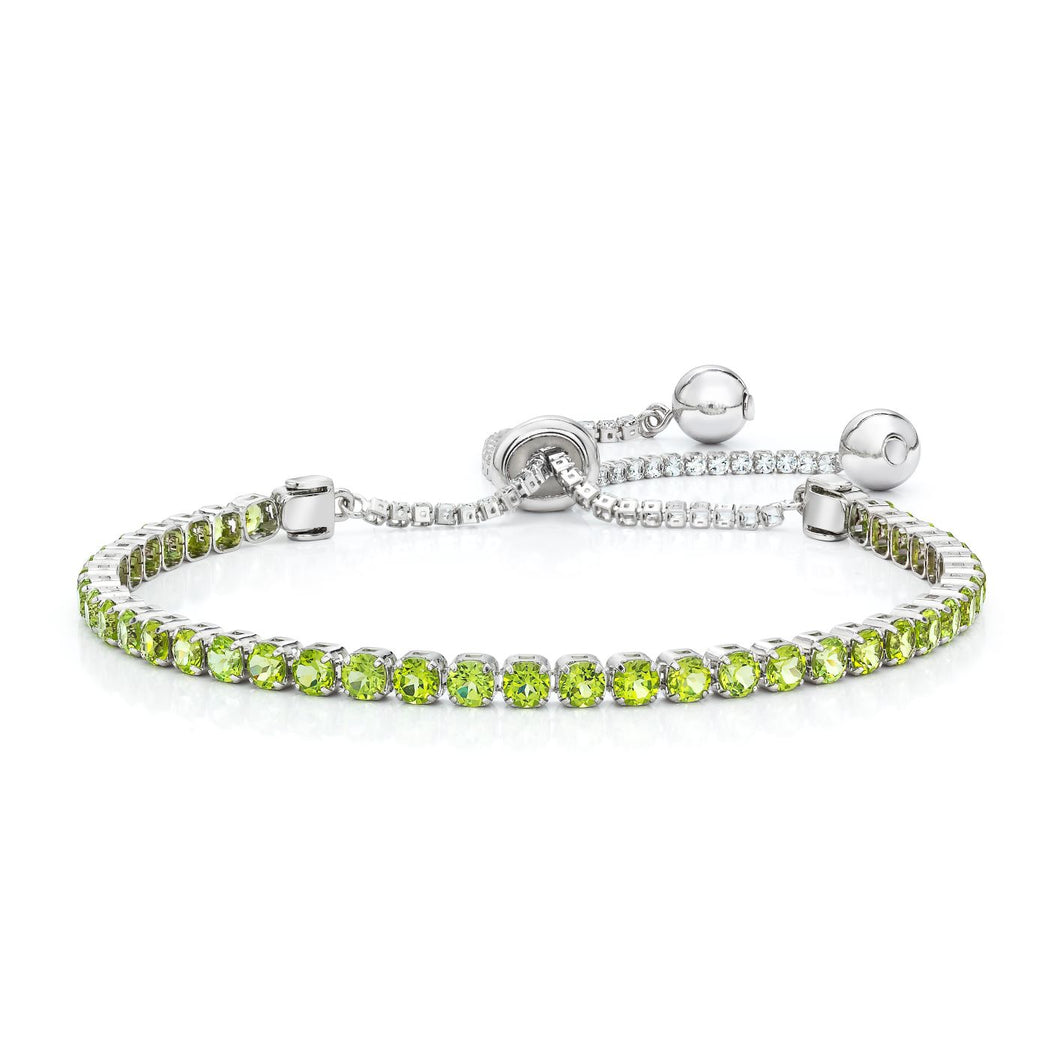 Round Shaped Peridot Bolo Bracelet set in 925 silver