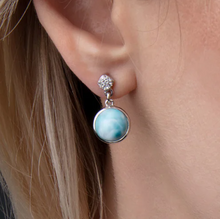 Load image into Gallery viewer, Bliss Round Larimar Earrings