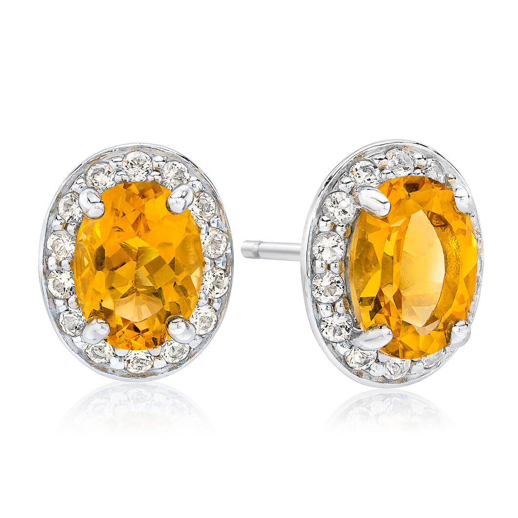 Oval Shaped Citrine & White Topaz Halo Earrings set in 925 Silver