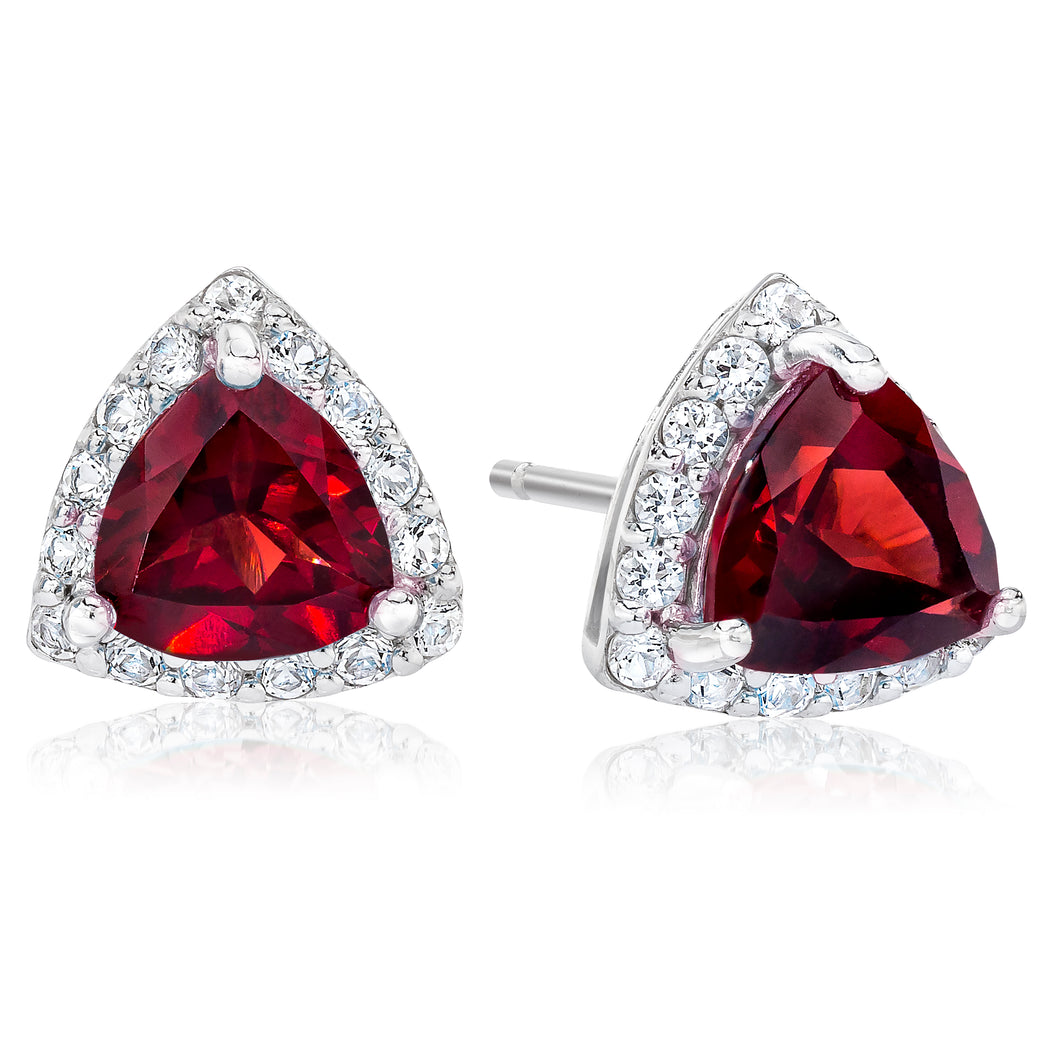 Trillion Shaped Garnet & White Topaz Halo Earrings set in 925 Silver