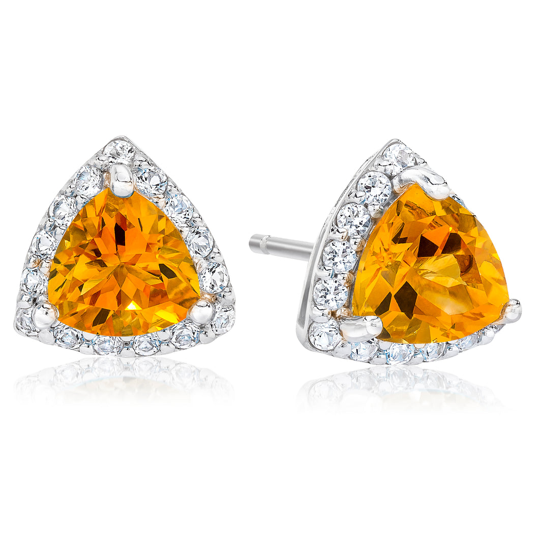 Trilion Shaped Citrine & White Topaz Halo Earrings set in 925 Silver