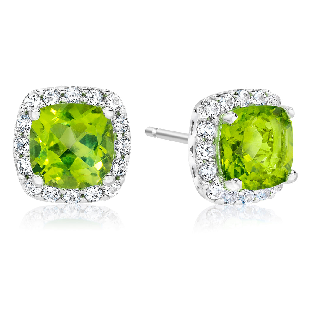 Cushion Shaped Peridot & White Topaz Halo Earrings set in 925 Silver