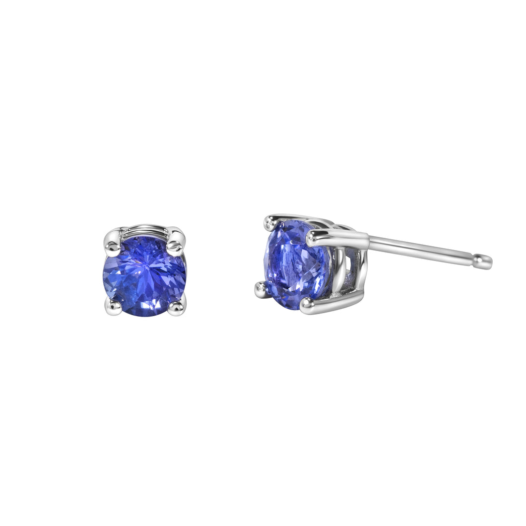 Round Shaped Tanzanite Stud Earrings set in 925 Silver