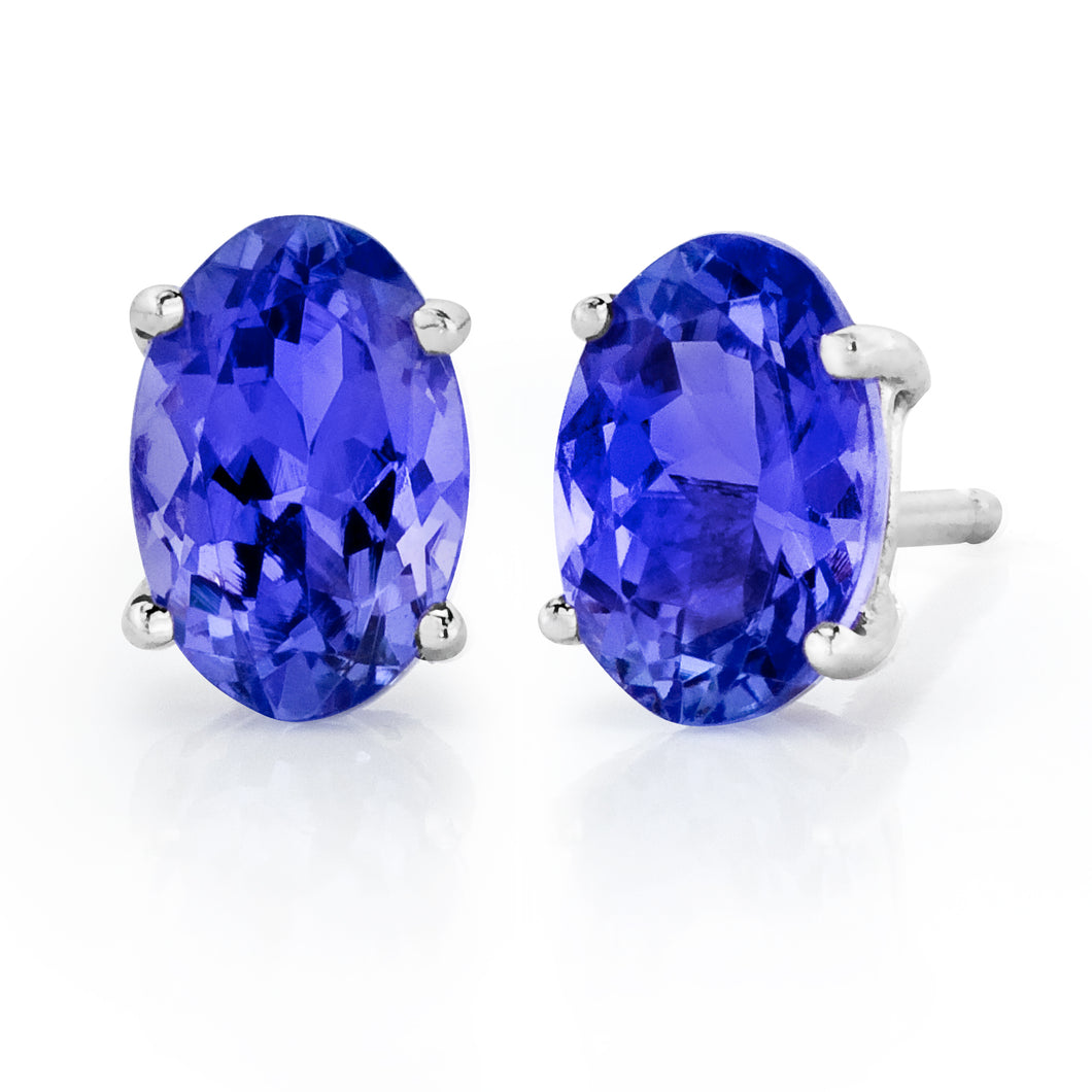 Oval Shaped Tanzanite Stud Earrings set in 925 Silver