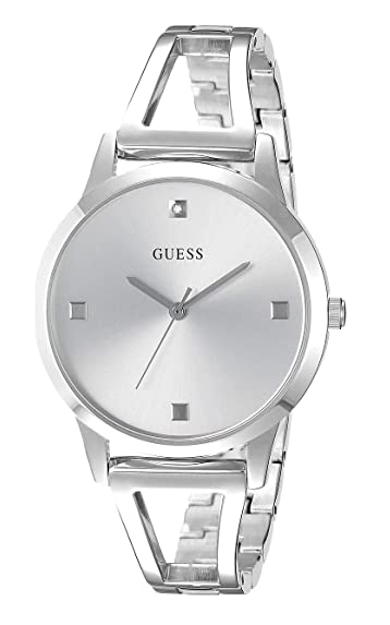Silver-Tone Petite Diamond Analog Watch